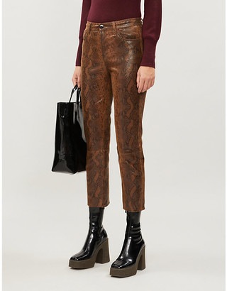 J Brand Ruby snakeskin-effect straight high-rise leather jeans