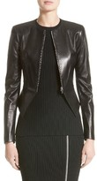 Michael Kors Women's Lambskin Leather Peplum Jacket