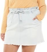So Juniors' Plus Size SO Paperbag Denim Skirt