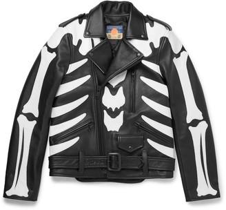 Blackmeans Slim-Fit Appliqued Leather Jacket