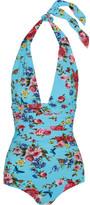 Dolce & Gabbana Printed Ruched Halterneck Swimsuit - Blue