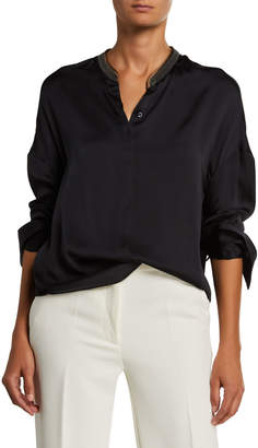 Brunello Cucinelli Silk Drop-Shoulder Monili-Trim Blouse