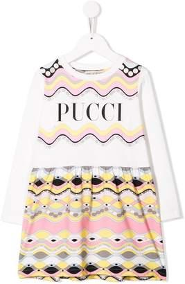 Emilio Pucci Junior contrast logo dress