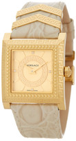 Versace Women's DV-25 Square Leather Strap Diamond Watch