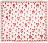 Alexander McQueen White and Red Silk Skull Scarf