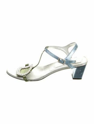 Roger Vivier Leather Crystal Embellishments T-Strap Sandals Silver