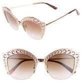 Gucci Women's 53Mm Embellished Cat Eye Sunglasses - Gold/ Brown