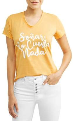 Sofia Jeans By Sofia Vergara Soar No Cuesta Nada Short Sleeve V-Neck Graphic T-Shirt Women's