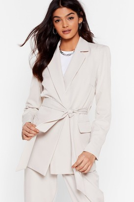 BEIGE Nasty GalNasty Gal Womens Suit Up Longline Belted Blazer 6,