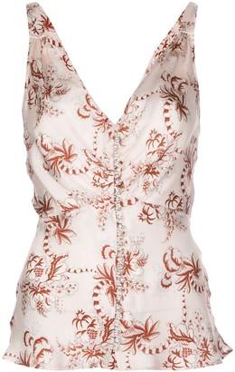 Paco Rabanne V-neck sleeveless printed blouse