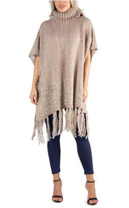 24Seven Comfort Apparel Women Knee Length Fringe Poncho Sweater