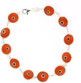 Gem Stone King 10mm Dark Orange 925 Sterling Silver Evil Eye Bracelet