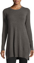 Neiman Marcus Long-Sleeve Side-Slit Knit Tunic, Charcoal, Plus Size