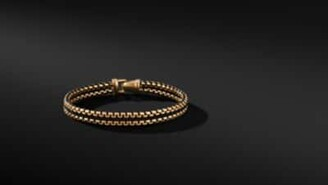 David Yurman Woven Box Chain Bracelet In Black With 18K Gold