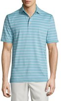 Peter Millar Tradeshow Striped Short-Sleeve Jersey Polo Shirt, Emerald