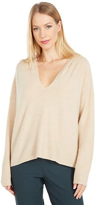 Eileen Fisher Boxy Hooded Top (Cashew) Women's Clothing