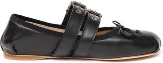 Miu Miu Black Leather Buckled Ballerina Slippers