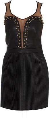 Elisabetta Franchi Embellished Faux Leather Mini Dress