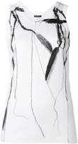 Ann Demeulemeester feather and bead print tank