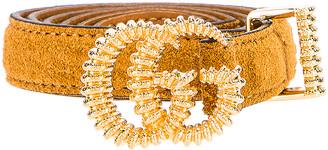 Gucci Suede Torchon Double G Buckle Belt in Vintage Sun Oil | FWRD