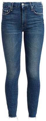 Mother Looker High-Rise Ankle Fray Hem Jeans