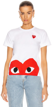 Comme des Garcons Red Emblem Heart Tee in White | FWRD
