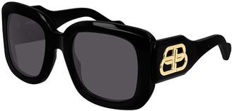 Balenciaga Chunky Square Logo Sunglasses