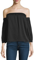 Milly Off-The-Shoulder Stretch-Silk Blouse, Black