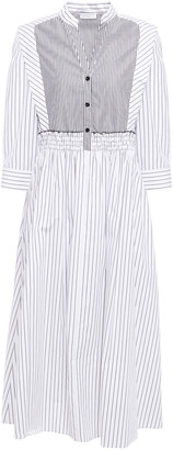 Sandro Alison Shirred Striped Cotton-poplin Midi Dress