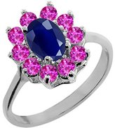 Gem Stone King 1.52 Ct Oval Blue Sapphire Pink Sapphire 14K White Gold Ring