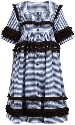 Molly Goddard Macy Gingham-cotton Midi Dress - Womens - Navy