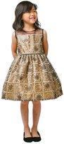 Sweet Kids Big Girls Bronze Baroque Embroidery Christmas Dress