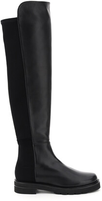 Stuart Weitzman 5050 LIFT LEATHER AND STRETCH BOOTS 35 Black Leather
