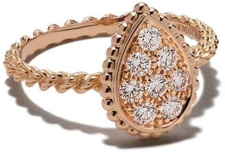 Boucheron 18kt rose gold Diamond Serpent Boheme S motif ring
