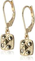 """Judith Jack en Class"""" Sterling Silver and -Tone Marcasite Square Drop Earrings"""