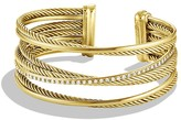 David Yurman Crossover Four-Row Cuff with Diamonds in Gold