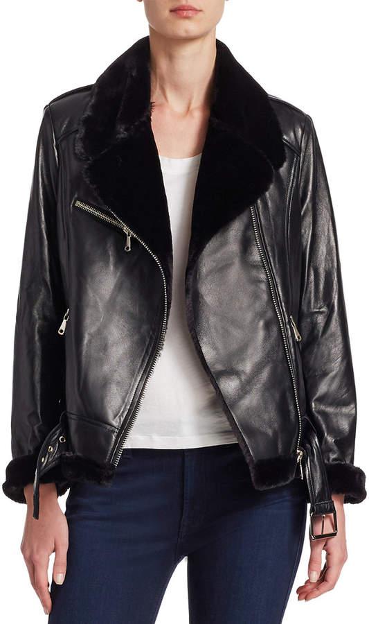 Pure Navy Shearling Moto Jacket