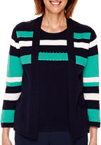 Alfred Dunner Costa Allegra 3/4-Sleeve Layered Sweater - Petite