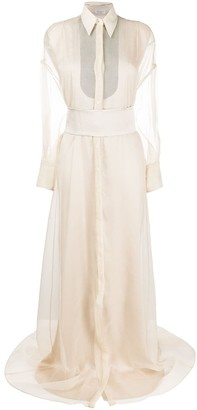 Brunello Cucinelli Sheer Shirt Gown
