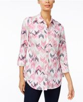 JM Collection Printed Roll-Tab Blouse, Only at Macy's