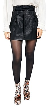Free People Payton Paperbag-Waist Faux Leather Skirt