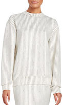 DKNY Crewneck Long Sleeve Pinstriped Pullover