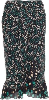 Anna Sui Pleated Printed Georgette Skirt
