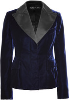 Tom Ford Satin-trimmed Velvet Blazer - Midnight blue