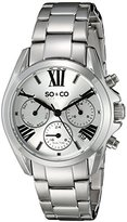 SO&CO New York Women's 5064.1 Madison World Timer Day and Date Quartz Stainless Steel Link Bracelet Watch