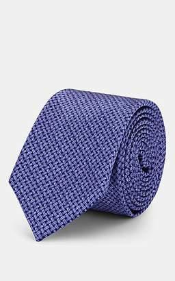 Barneys New York Men's Basketweave-Print Silk Satin Necktie - Purple
