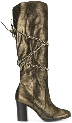 Schutz Chain Wrapped Knee-High Boots