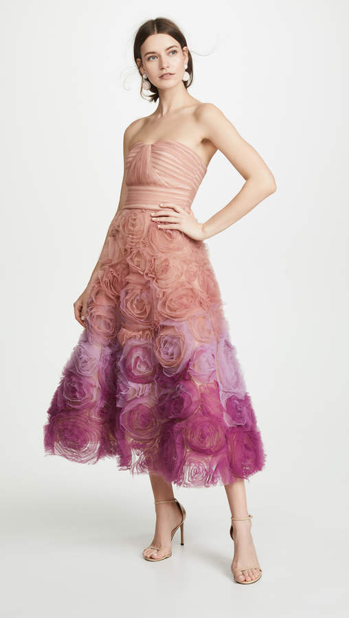 Marchesa Strapless Ombre Textured Tulle Gown