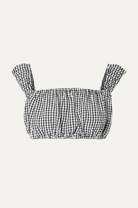 Solid & Striped Off-the-shoulder Cropped Gingham Seersucker Top - Black