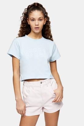 Topshop Blue Berlin Crop T-Shirt